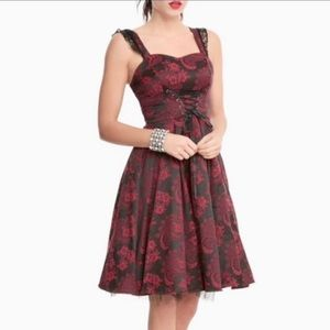 Hearts and Roses Red Brocade Corset Dress size 8